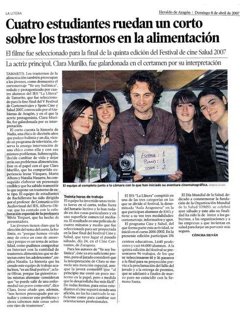 Artículo publicado en el diario Heraldo de Aragón el 8 de abril de 2007